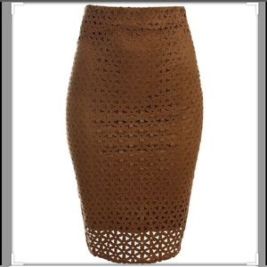 Sans Souchi Laser Cut Faux Suede Pencil Skirt Sz M